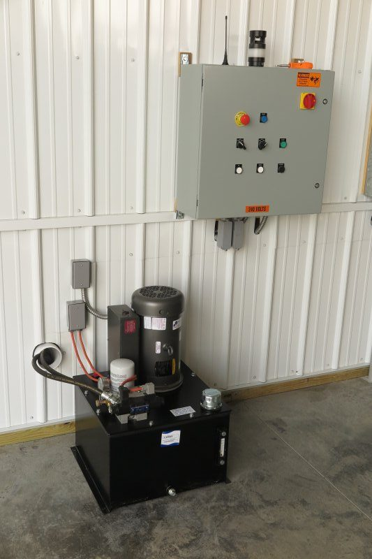 control panel and hydraulic pump